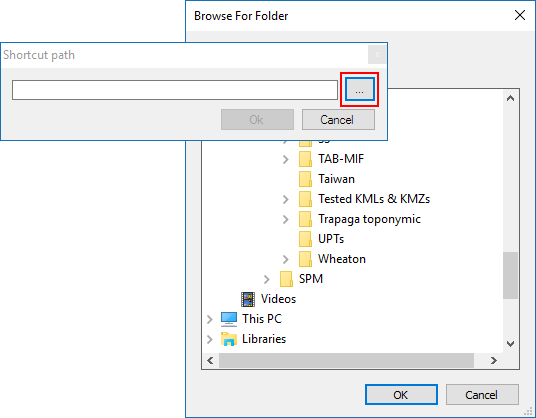 Create a new Shortcut - Browse for folder