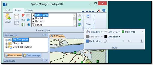 Spatial Manager Desktop™ Ribbon Groups display