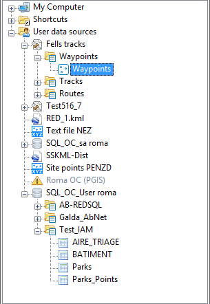 Spatial Manager™ for GstarCAD Data sources Area