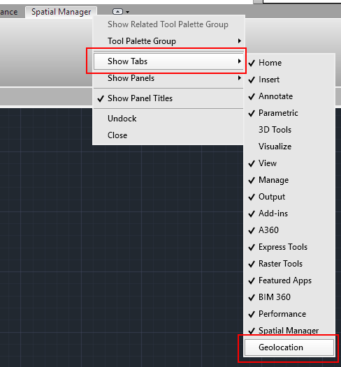 Open or Close Ribbon Tabs in AutoCAD