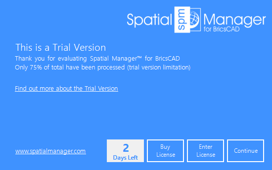 Spatial Manager™ for BricsCAD trial version window