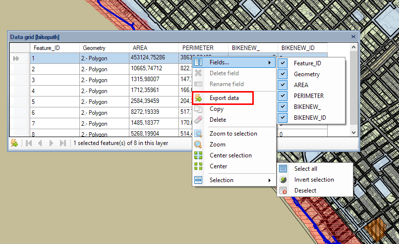 Export Data values from the 'Data grid'