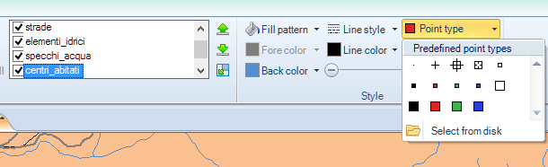 Layer point type options