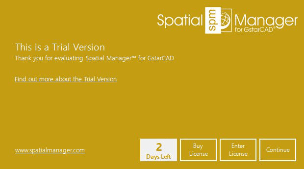 Spatial Manager™ for GstarCAD trial version window