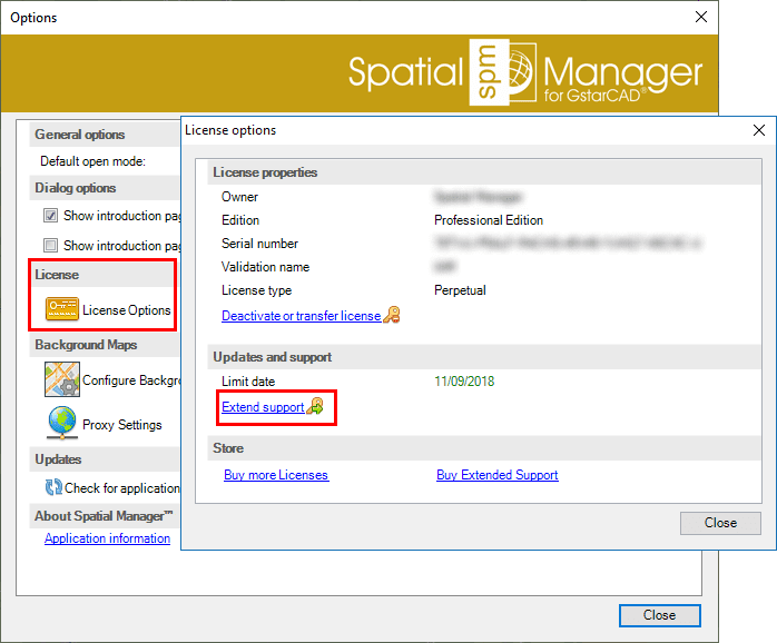 Spatial Manager™ for GstarCAD Activate support window