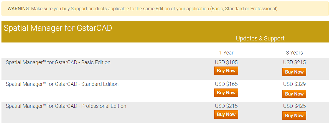 Spatial Manager™ for GstarCAD Extended Support Buy page