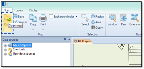 "Spatial Manager Desktop™ ""Open map"" button"