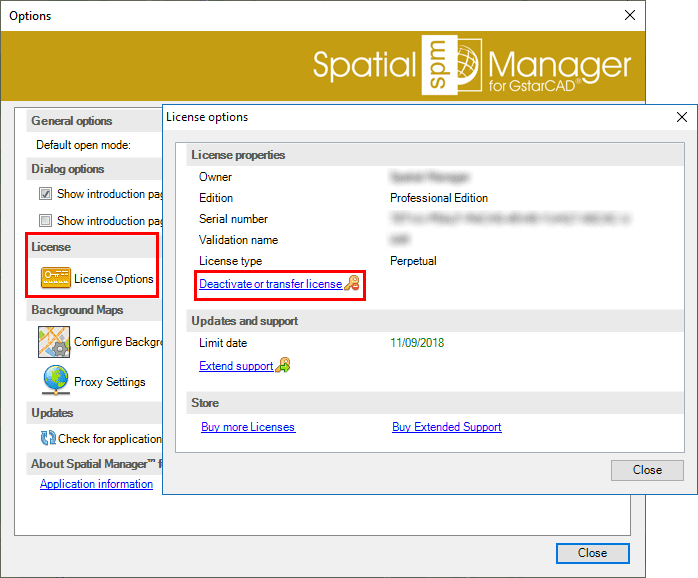 Spatial Manager™ for GstarCAD Deactivate licenses window