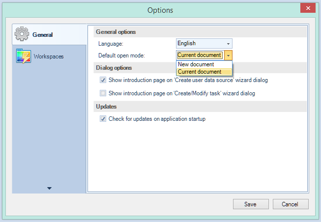 Configure the double-click option
