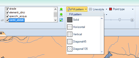 Layer fill pattern options