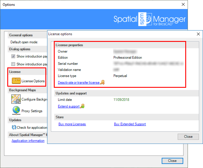 Spatial Manager™ for BricsCAD Activate licenses window