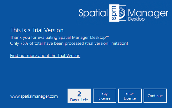 Spatial Manager Desktop™ trial version window