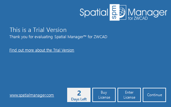 Spatial Manager™ for ZWCAD trial version window