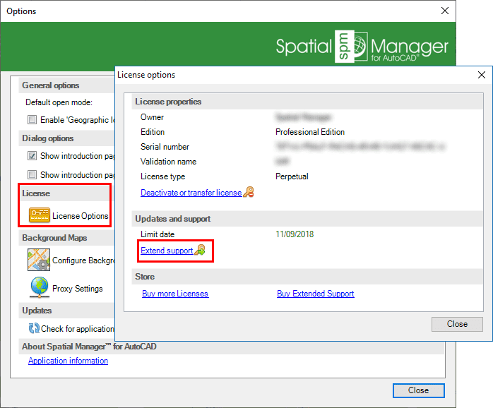 Spatial Manager™ for AutoCAD Activate support window