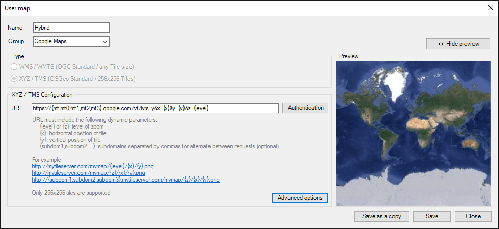 "Configuring ""XYZ / TMS User Background Maps"""