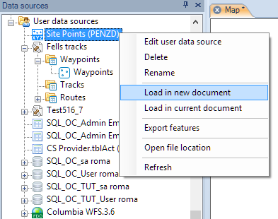 Load a table from a User Data Source (UDS) in a Map