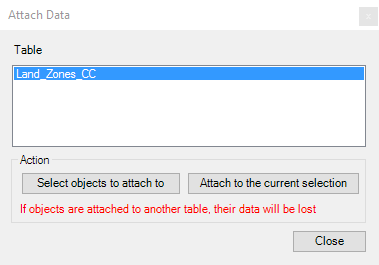 Attach a data table to entities window