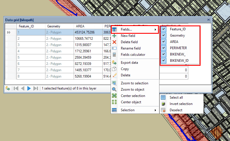 Show/Hide Fields in the 'Data grid' to choose what export
