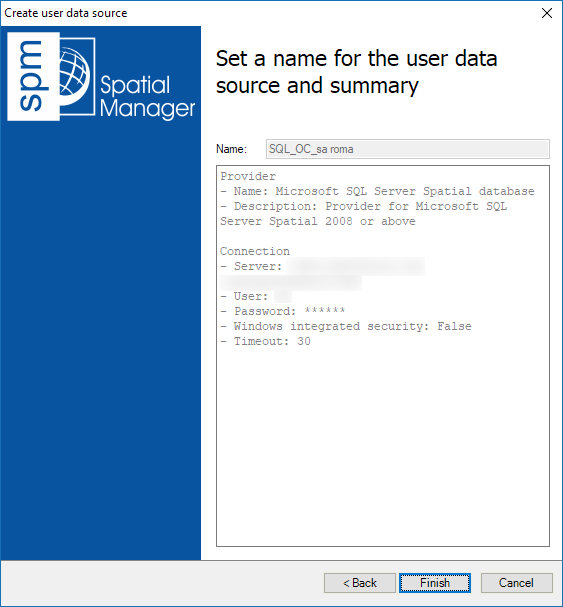 Assign a Name to the new User Data Source