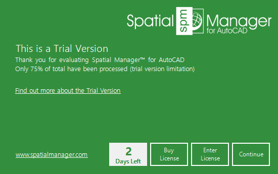 Spatial Manager™ for AutoCAD trial version window