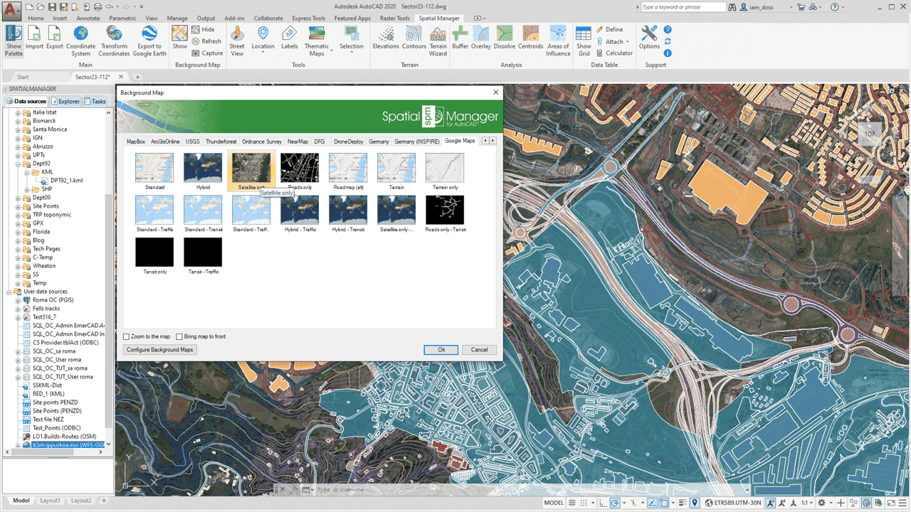 Spatial manager for autocad faqs background maps standard and background map applied in a sample drawing gumiabroncs Image collections