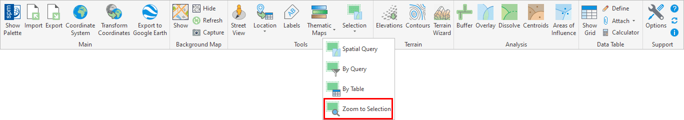 'SPMZOOMTOSELECTION' command in the Spatial Manager™ for BricsCAD Ribbon (Can also be found in the drop-down Menu and Toolbar of Spatial Manager)