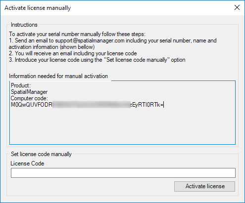 Spatial Manager™ for AutoCAD - Instructions for manually activate the licenses