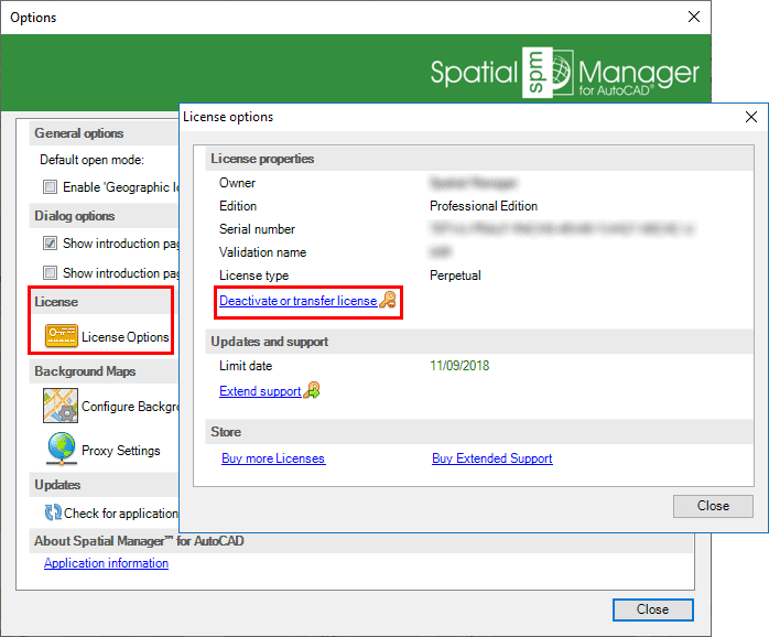 Spatial Manager™ for AutoCAD Deactivate licenses window