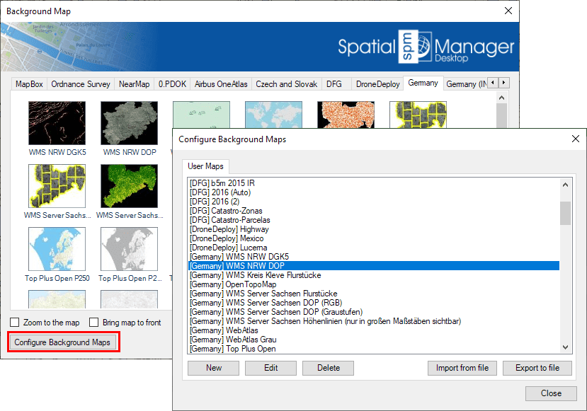 """Configure Background Maps"" button in the 'Background Maps' selection window"