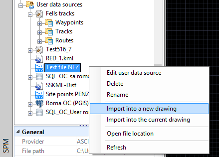 Import a file or a table into BricsCAD using the contextual menu