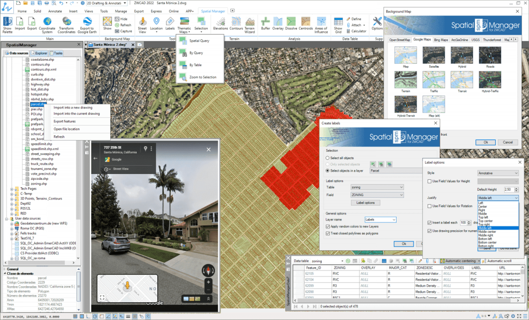 Spatial Manager™ for ZWCAD preview screen